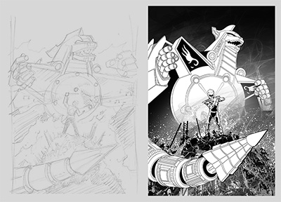 Mighty Morphin power Rangers sketch and black and white version